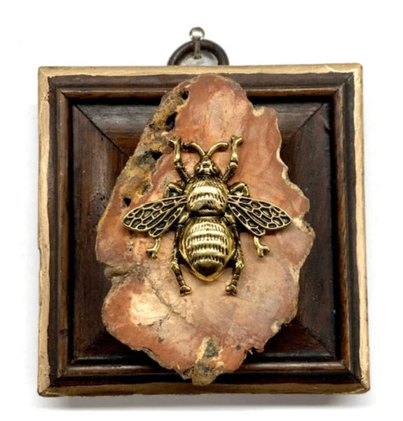 Wooden Frame with Grande Bee on Petrified Wood Piece
