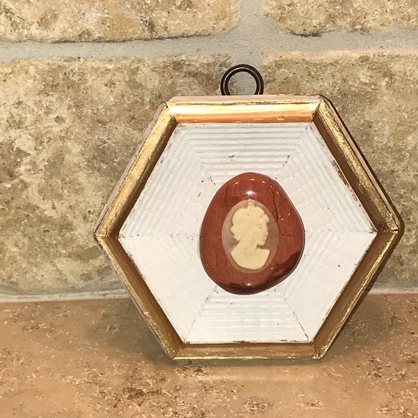 Hexagon Frame with Cameo on Stone