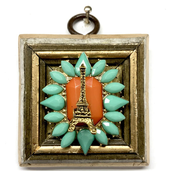 Mother of Pearl Frame with Eiffel Tower on Brooch