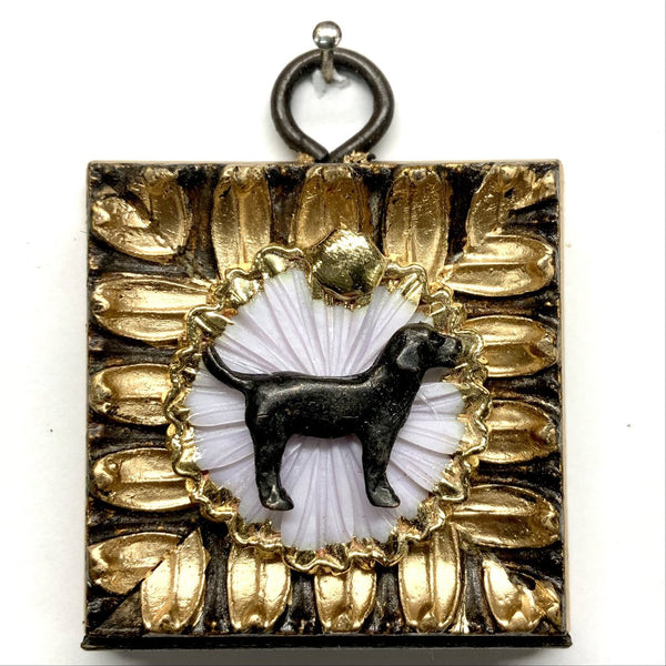 PAINTED FRAME WITH DOG ON BROOCH