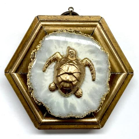 Gilt Frame with Turtle on Quartz