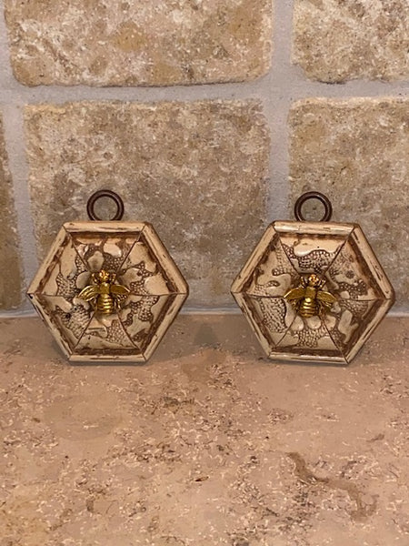 HEXAGON PATTERN FRAMES WITH NAPOLEONIC BEE PAIR AVAILABLE