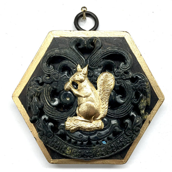 Wooden Frame with Squirrel on Jade
