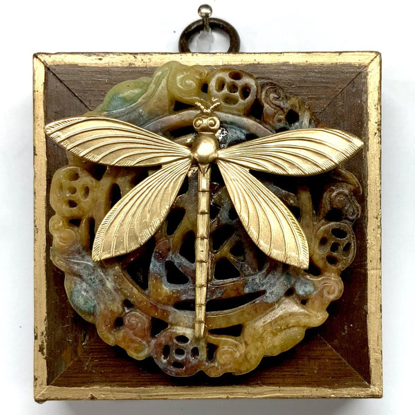 Wooden Frame with Dragonfly on Jade