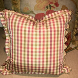 PAIR of Check pillows with trim