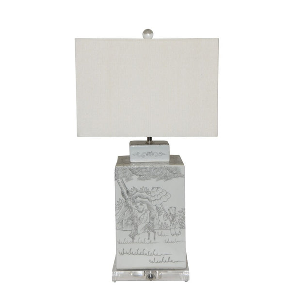 INK PAINTING SQUARE TEA JAR LAMP