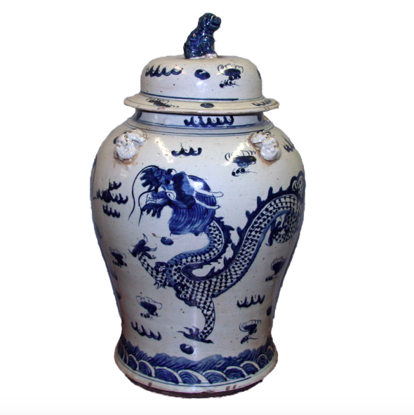 Blue & White Porcelain Extra Large Temple Jar