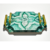 Acrylic Malachite Tray with Brass Handles