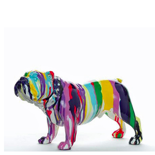 Graffiti Bulldog Painted Sculpture