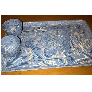 Aptware Rectangle Tray with Pair of Sake Cups ~ French Blue