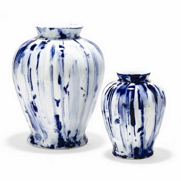 Blue Canvas Vases ~ Set of 2