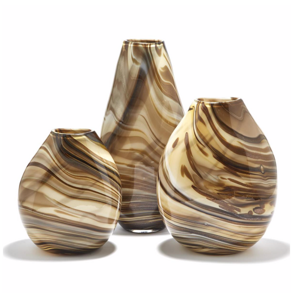 Set of 3 Mocha Swirl Vases ~ Hand-blown Glass