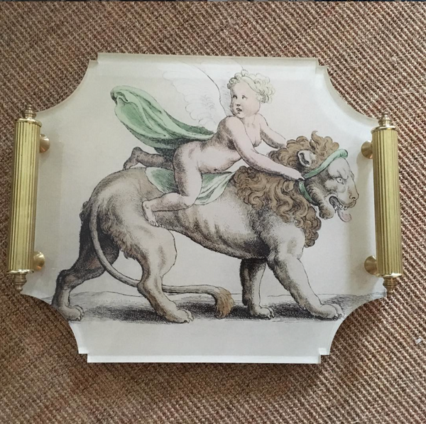 Acrylic Tray with Brass Handles / Lion & Cherub