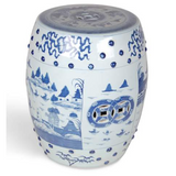 GARDEN STOOL BLUE/WHITE CANTON