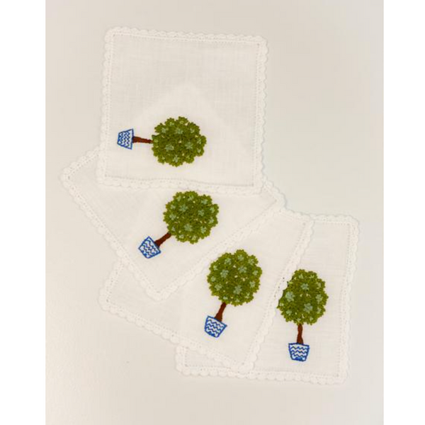 Cocktail Napkins ~ Topiary in Blue Pot (Set of 4)