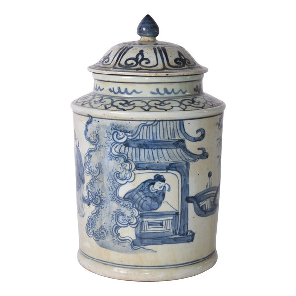 BLUE & WHITE ANCIENT PEOPLE LIDDED JAR
