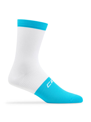 Active Compression 12cm Sock White-Cyan