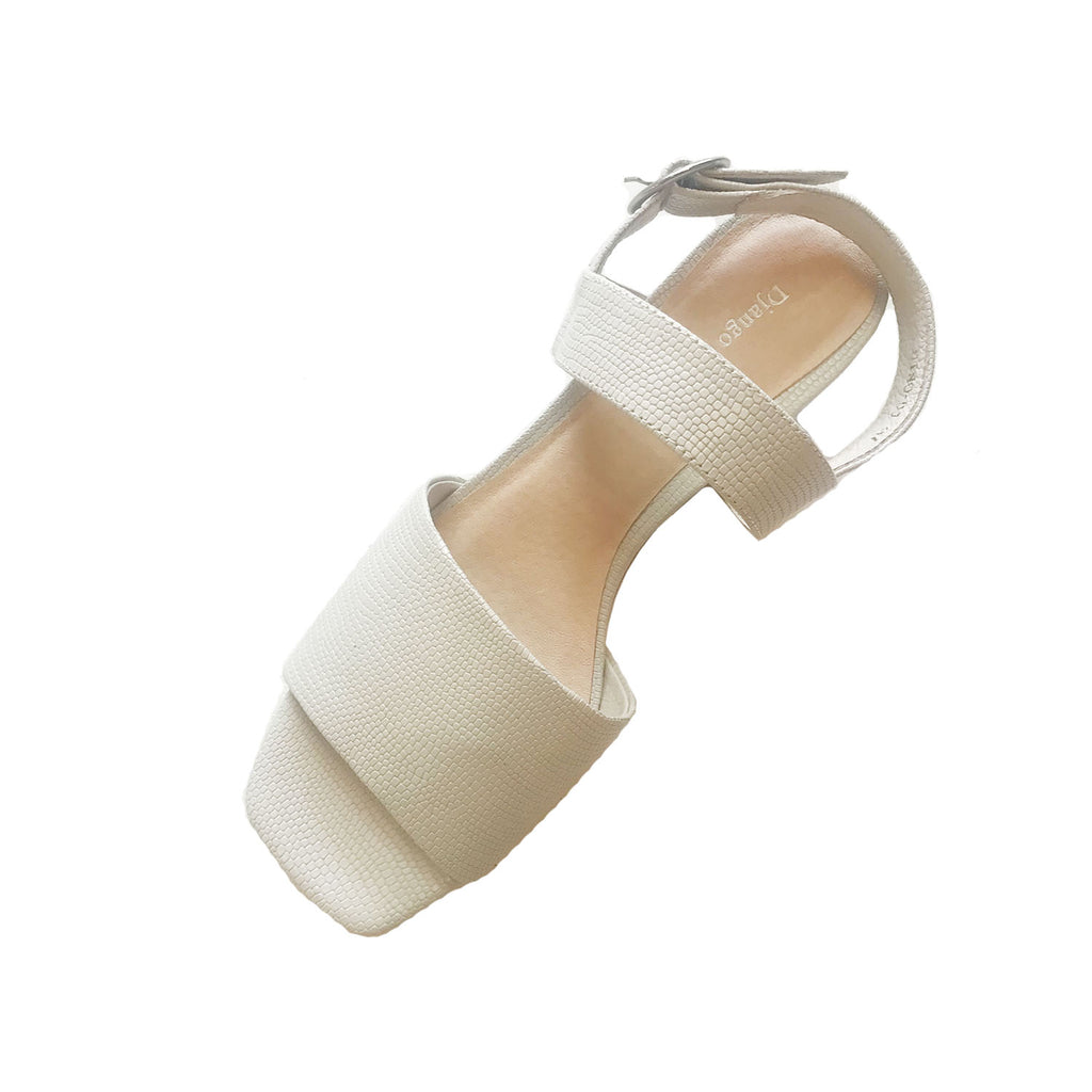 Dino  Sandal - Winter White Lizard Leather