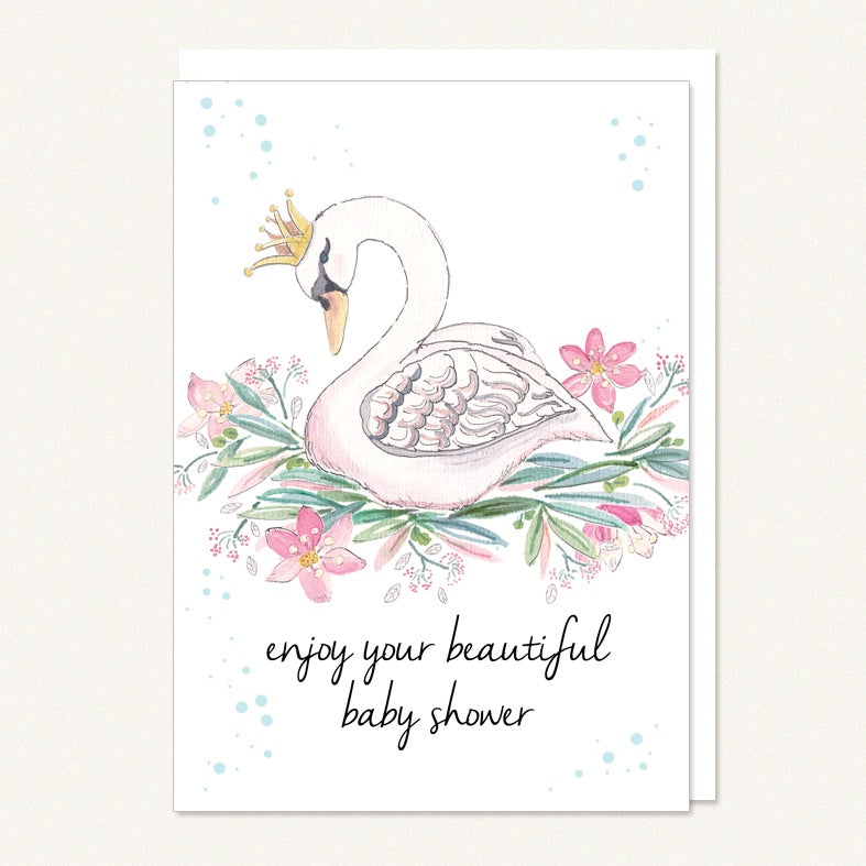 Card baby shower swan