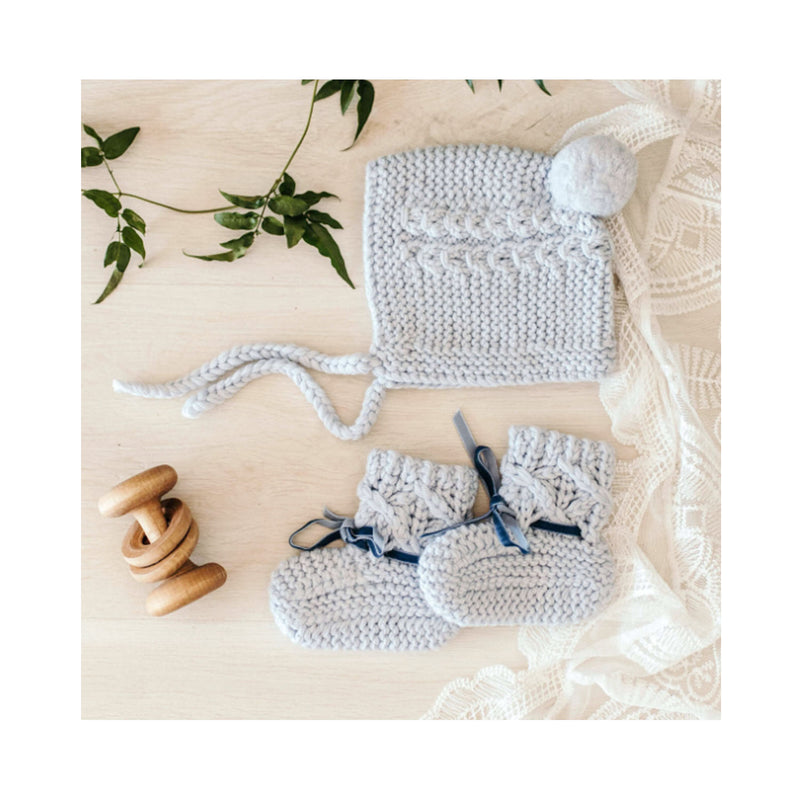 Merino Wool Bonnet & Bootie Set Blue