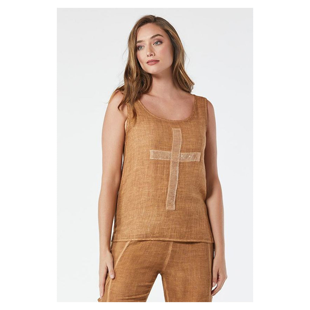 Top Cross Sequin Singlet Chestnut