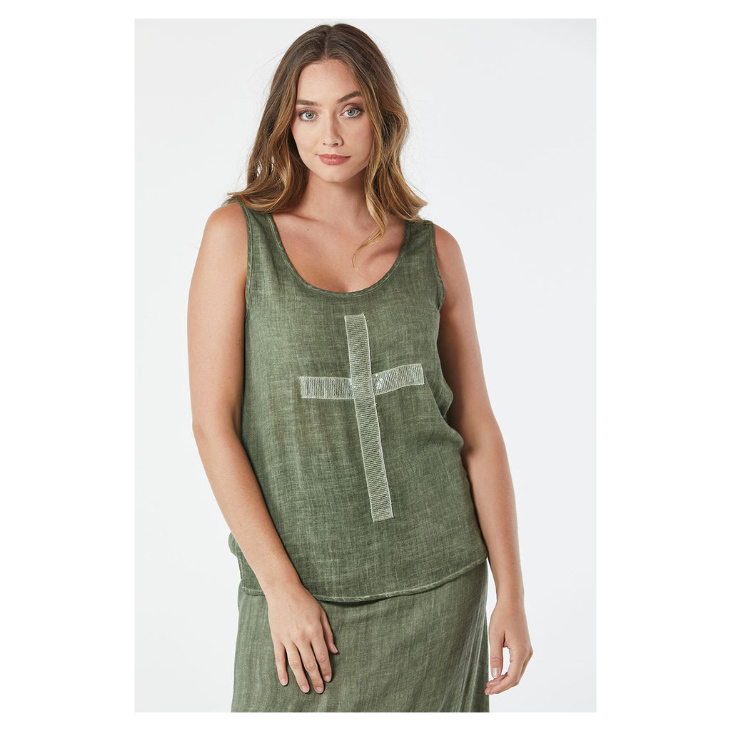 Top Cross Sequin Singlet Khaki