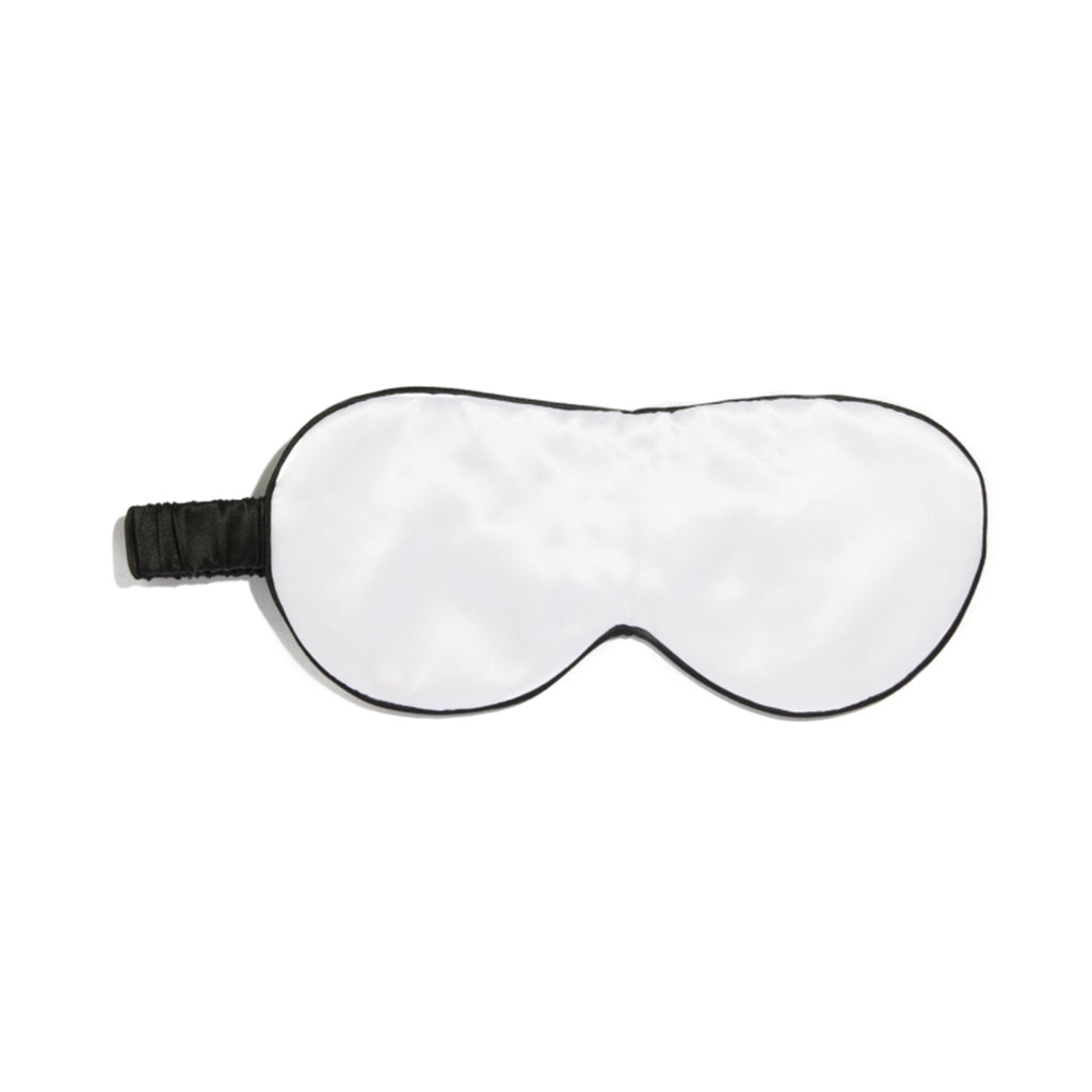 Silk Eye Mask Arctic White/Black piped Black