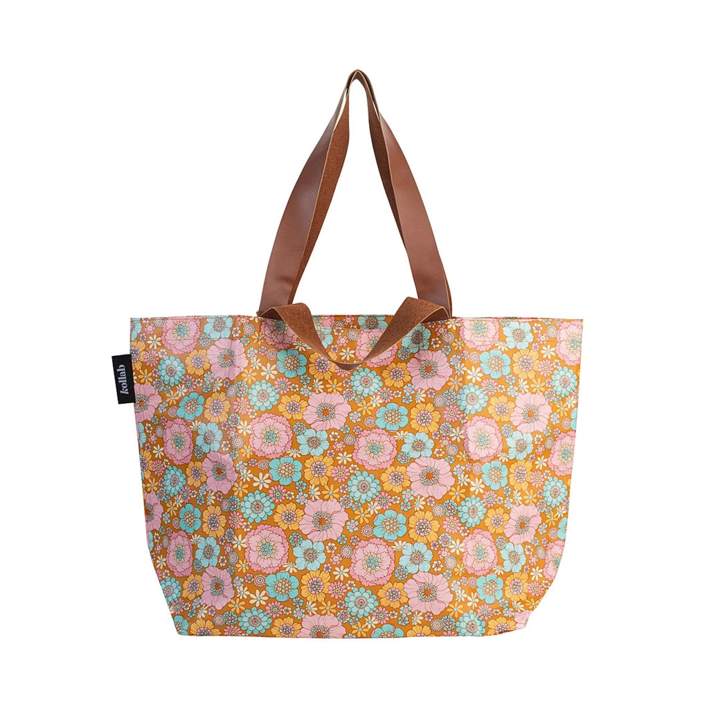 Shopper Tote Retro Aqua Floral
