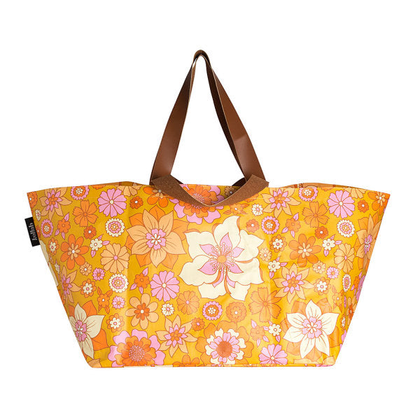 Beach Bag Retro Mustard Floral