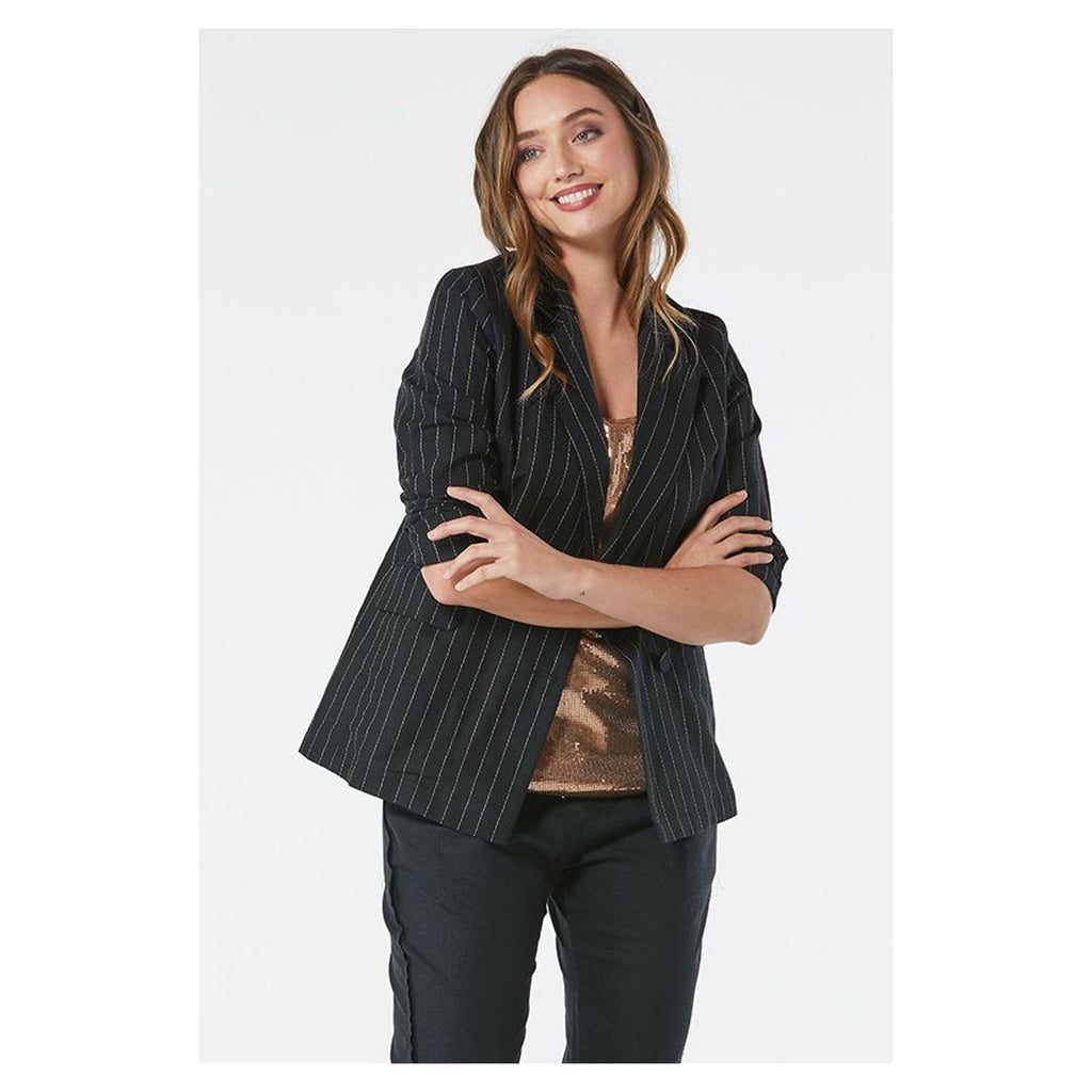 Blazer Pin Stripe Black