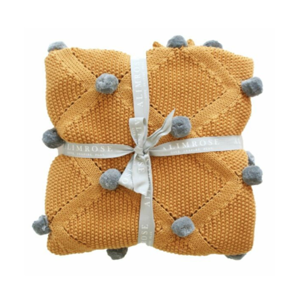 Baby Blanket Pom Pom Butterscotch