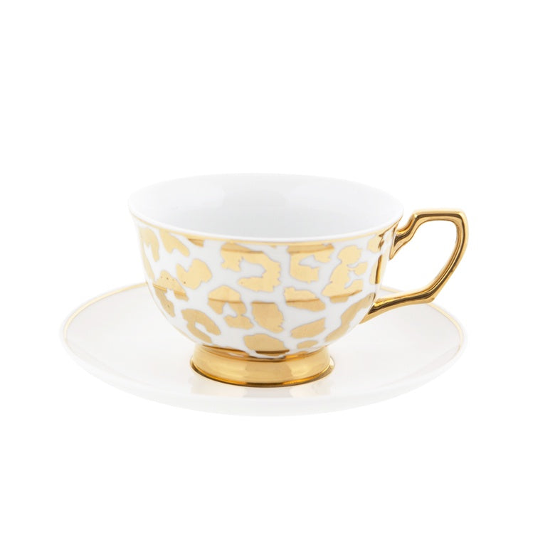 Louis Gold Leopard Teacup & Saucer