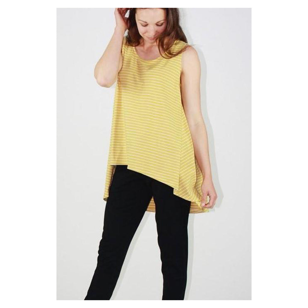 Top Drop Back Tank Mustard & White Stripe