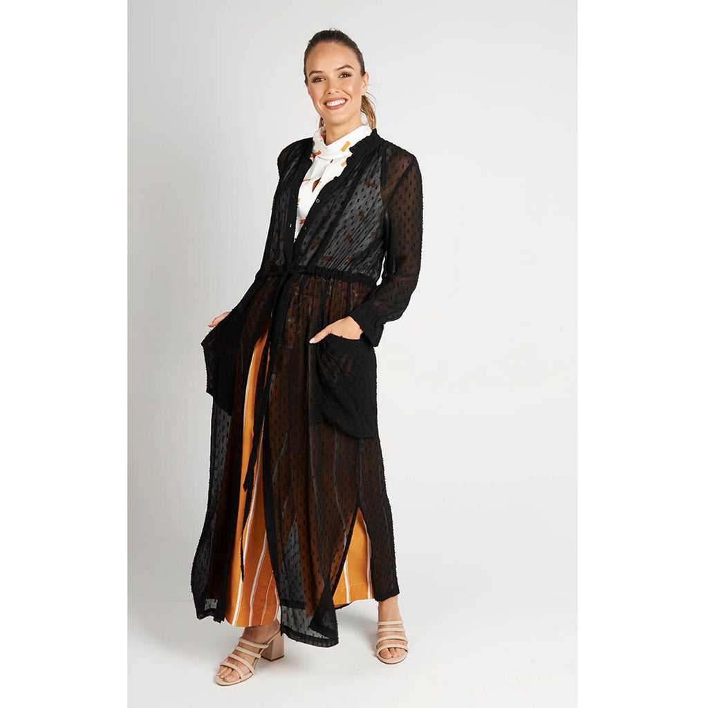 Long Line Black Duster