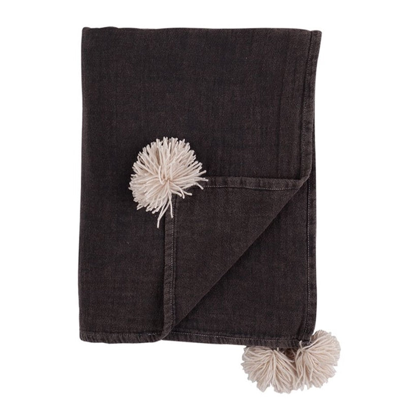 Vintage Wash Throw - Charcoal Tassels
