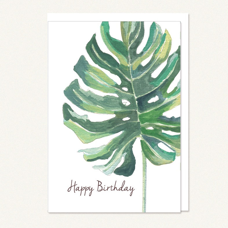 card happy birthday large green leaf