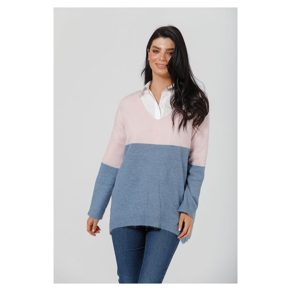 Knit Fonda Colour Block - Blush + Storm
