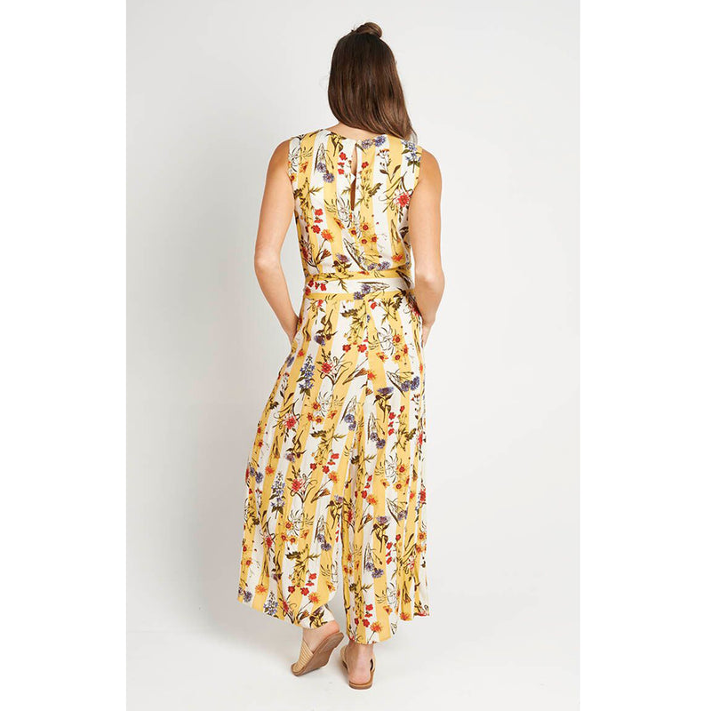 Jumpsuit Yellow Floral Stripe