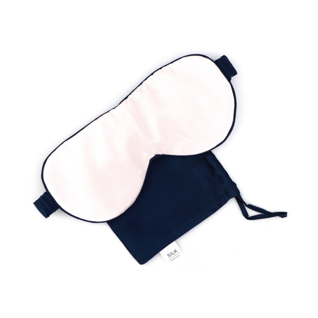 Silk Eye Mask Peony Pink piped in French Navy