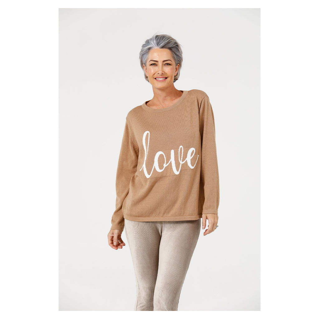 Knit Petra Love - Nut + White