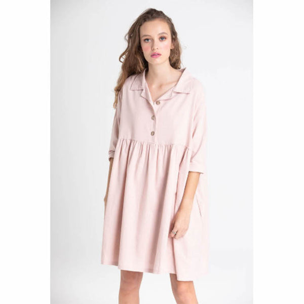 Dress Provence Button Linen Blush