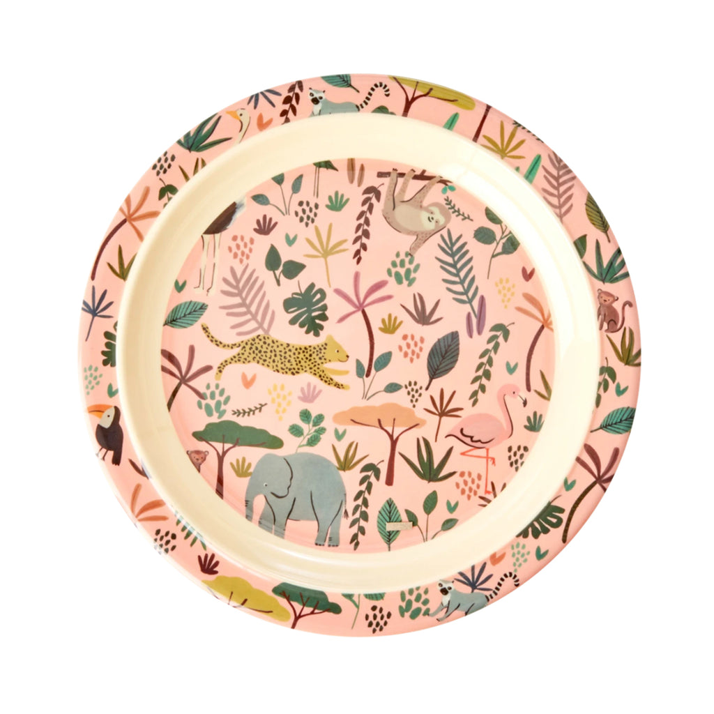 Plate Melamine Jungle Animals Coral