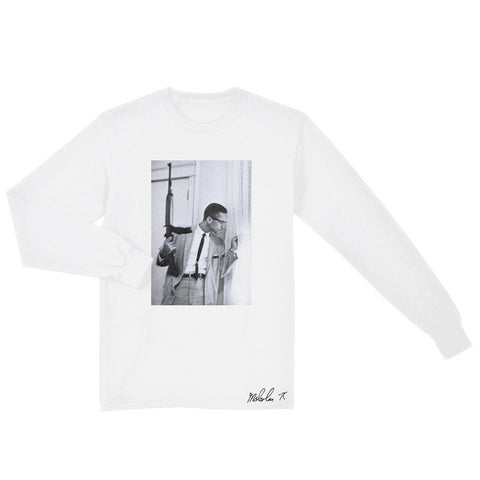 Malcolm X - By Any Means Necessary Long Sleeve Shirt in White