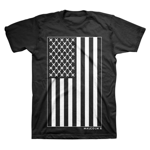 Malcolm X - X Vertical Flag T-Shirt in Black