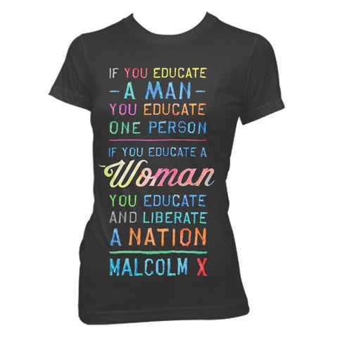 Malcolm X - Women's Quote Tee in Black