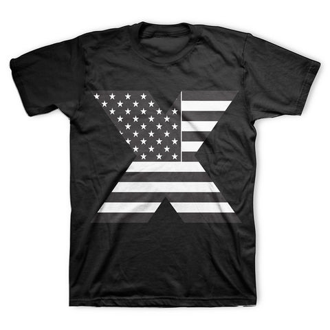Malcolm X - X Flag T-Shirt in Black and White