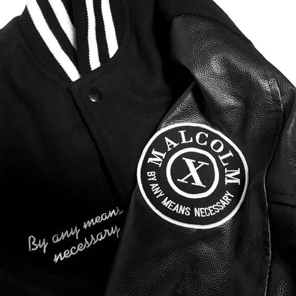 Malcolm X Leather Letterman Jacket