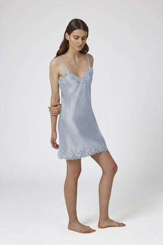 Silk Chemise with Pintucks and Lace - Chalk