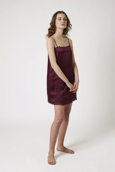 Scallop Chemise - Burgundy