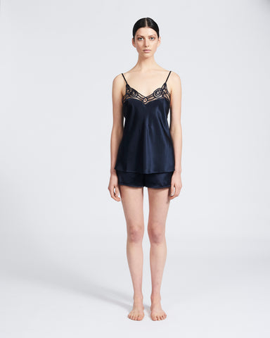 Silk Camisole with Ornate Lace - Navy